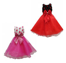 Dress Girls Flower Pink Red Formal Wedding Bridesmaid Party Size Age 3-12 New
