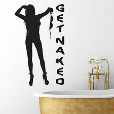 Get Naked Bathroom Wall Art Sticker Naked Girl Silhouette Vinyl Wall Decal