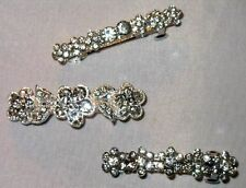 SILVERTONE METAL SPARKLING CLEAR CRYSTAL BARRETTE SELECT STYLE SHIPS FAST