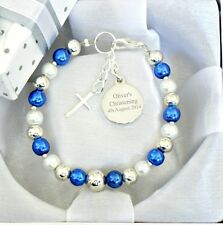 Boys Personalised Christening Name Day First Holy Communion Engraved Bracelet