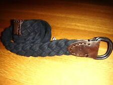 NEW ABERCROMBIE & FITCH NAVY BLUE BRAIDED COTTON & LEATHER D-RING BELT NWOT