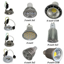 240V GU10 LED Recessed Downlight Kit in White or Silver Finish in 3w 4w 6w 9w
