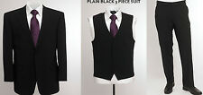 "BNWT Skopes Wool Blend 3 Piece Suit In Plain Black, Chest 60"" To 62"""