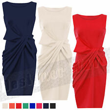 Womens Ladies Side Knot Pleated  Bow Bodycon Midi Shift Ponte Dress Casual Party