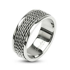 "Men's Women's Ring Silver ""Chain Links"" Stainless Steel New Jewelry By Coolbody"