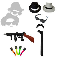 Mens Fancy Dress 20's 30's Gangster Blues Brothers Hat Glasses Fedora Tie Braces