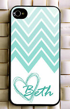 Monogrammed iPhone 5 case turquoise chevron personalized cover iPhone 4 MG-032
