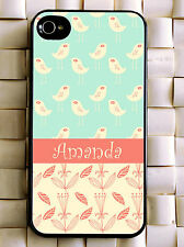 Monogrammed iPhone 5 case pink birds lovely personalized cover iPhone 4 MG-009