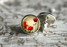 Poppies tiny stud silver earrings, post earring, cabochon ear studs