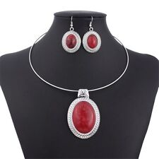Chunky Oval Turquoise Tibet Silver Pendant Torque Necklace Earrings Choker Set