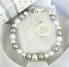 Boys Girls Personalised Christening First Holy Communion Bracelet Engraved Charm
