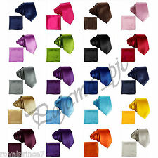 "Men's Solid 2.5"" Skinny Slim Self tie Neck Tie And Pocket Square Hanky Sets Prom"