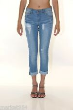 Cuffed Capri Ripped Jeans Women Stretch light Denim Pants Ankle Skinny Destroyed