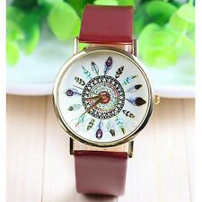 Fashion Womens Leather Band Feather Dial Geneva Quartz Analog Wristwatches