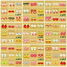 9 PAIRS CLIP ON EARRINGS BEAR CANDY CAT FLOWER BOW CAKE HEART CUTE GIRLS GIFTS