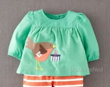Baby & Girls NEW x Mini Boden Lined Woven Applique T-Shirt Top- Ages 0m-3y