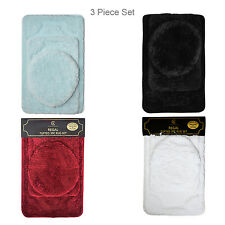 3 Piece Tufted Bath Rug Set Including 2 Bath Mats and 1 Toilet Lid Cover