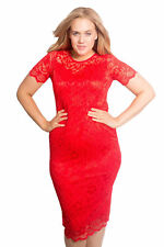 New Womens Dress Ladies Lace Bodycon Floral Midi Sweetheart Plus Size Nouvelle