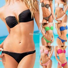 New Strapless V Wire Push Up Bandeau Top Bottom Bikini Set Swimsuit Swimwear