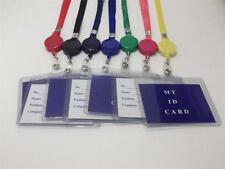 "Retractable Lanyard Badge Holder 18"" Neck Strap Reel Combo ID Card Press Pass"