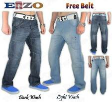 New Men Enzo Designer Regular Fit Straight Leg Denim Jeans in 28-42 + Free Belt