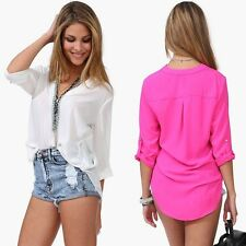 Fashion Womens Casual V-neck Roll Up Foldable Sleeve Chiffon Shirt Blouse Top