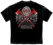 """Firefighter's T-Shirt """"ABSOLUTE FIREFIGHTER"""", Black, HD Color Graphics - AL-205"""