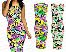 New Ladies Summer Stretch Bodycon  Maxi Tropical Floral Sleeveless Dress 8-14