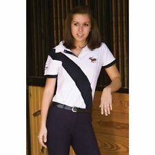 TuffRider Hurlingham Polo Shirt - Ladies - White/Navy - Size: X-Large - SALE!