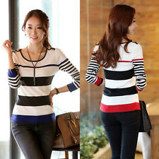 Womens New Hot Stylish Slim Crew Neck Casual Sweater Knitting Wool Pullover Tops
