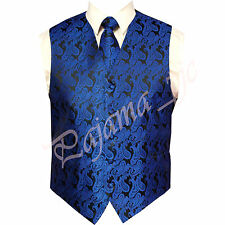 ROYAL Blue XS to 6XL Paisley Tuxedo Suit Dress Vest Waistcoat & Neck tie Prom
