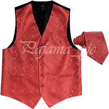 New Men CORAL XS to 6XL Paisley Tuxedo Suit Dress Vest Waistcoat & Neck tie Prom