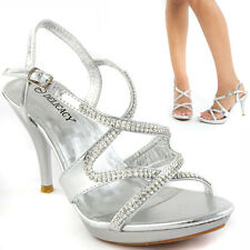 Silver Open Toe Zig Zag Rhinestone Strappy Party High Heel Sandal Wedding Shoes