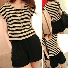 New Women Short Sleeve Striped Playsuit Shorts Pants Casual Jumpsuit Romper MXL