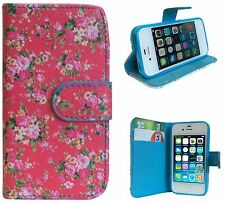 Pink Flower Flip Leather Wallet Stand Case For Samsung iPhone Sony Xperia HTC