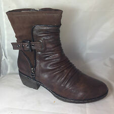 LADIES DARK BROWN faux LEATHER BIKER VAMP ANKLE BOOTS ZIP RUCHED COWBOY
