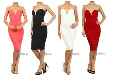 NEW SEXY STRAPLESS PLUNGING SWEET HEART NECKLINE BODYCON DRESS KNEE LENGTH S M L