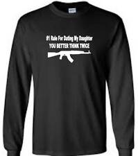 Rule For Dating My Daughter Mens Long Sleeve T-Shirt Funny Humor AK47 Mens Tee
