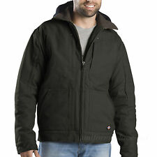 Dickies Work Jacket Men Lined Sanded Duck Hooded Jacket Cotton TJ547 Olive Black