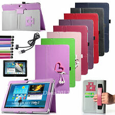 USB Cable + Pen + Slim Leather Case Cover For Samsung Galaxy Tab 2 10.1 P5100