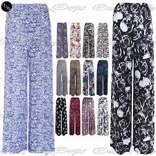 Womens Printed Flared Ladies Wide Leg Parallel Trousers Pants Palazzo Leggings
