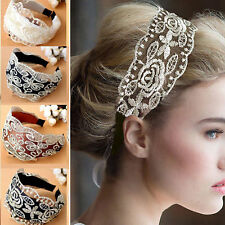 NEWLY Womens Girls Lace Headband Retro Hair Band Wide Headwraps Hair Accessories