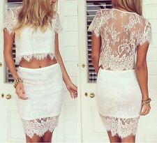 Summer lace crop top skirt two-piece set celebrity bodycon dress festival casual