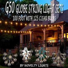 100 Foot Outdoor Globe Patio String Lights - Set of 125 G50 Clear Bulbs