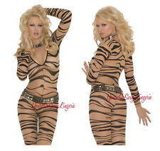 PLUS Size ZEBRA PRINT BodyStocking LONG SLEEVE Sheer NUDE BLACK Crotchless QUEEN