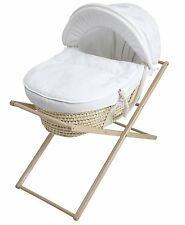 Baroo White Waffle and Cream Moses Basket Maize Stand with Mattress Baby Gift