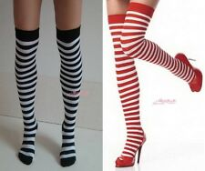 Women Black & White Red Nylon Striped Christmas Over Knee Stockings Thigh High