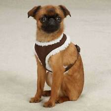 East Side Collection Cozy Sherpa Puppy Dog Cat Harnesses Faux Suede Adjustable