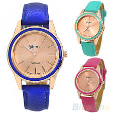 Fashion Vogue Women's Men's Unisex Geneva Faux Leather Analog Quartz Wrist Watch