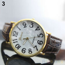 Mens Womens Chic Popular Geneva Shell Face Style Faux Leather Quartz Wrist Watch